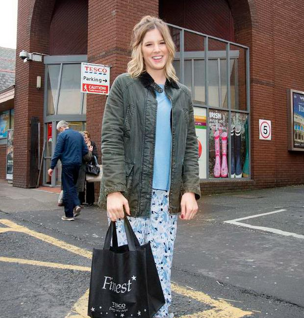 Aisle be damned: Daredevil 'Sunday Independent' reporter Elle Gordon goes shopping in her pyjamas to the supermarket Photo: Tony Gavin