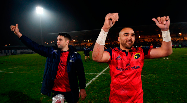 Simon Zebo, right, and Conor Murray of Munster