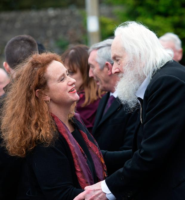 Maurice MacGowan is consoled by Jenny Rose Clarke at the funeral of his wife Therese MacGowan at at Our Lady of Lourdes Church in Silvermines, Co. Tipperary. Photo: Tony Gavin 8/1/2017