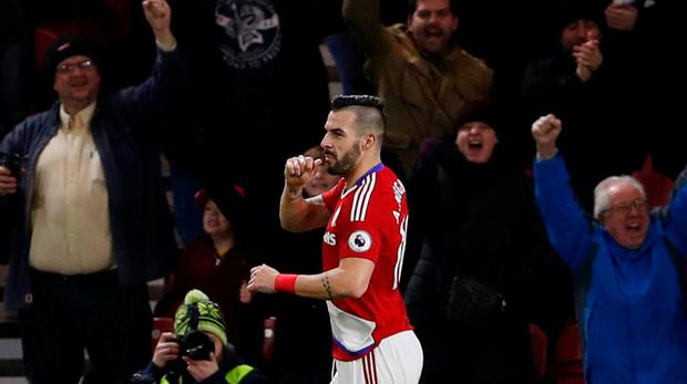 Middlesbrough's Alvaro Negredo celebrates scoring their second goal. Action Images via Reuters / Lee Smith