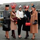Best-dressed lady finalists Marie Smith, from Naas, Tina Coyne, from Kinsale, winner Hannah Crosse, from Tipperary, Liz Maher, from Carlow, and Tara Hannify, from Newbridge. Photo: Caroline Quinn