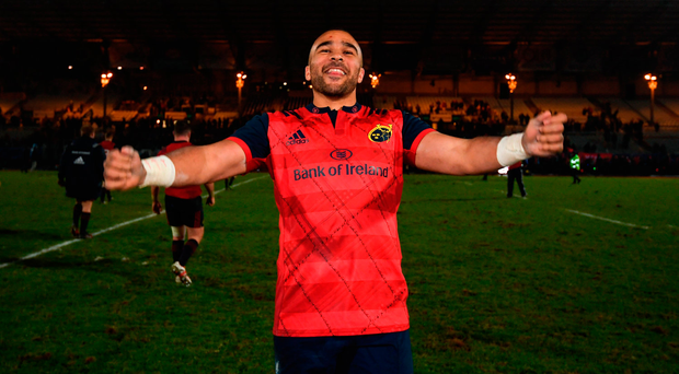 Simon Zebo celebrates Munster's comprehensive victory over Racing 92 Photo by Stephen McCarthy/Sportsfile
