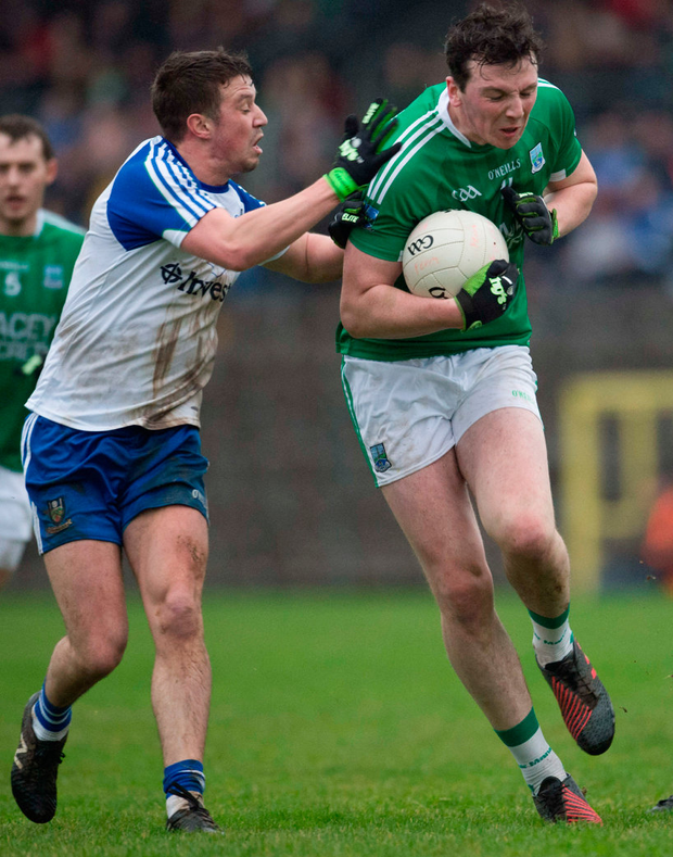 Fermanagh's Tom Clarke of Fermanagh in action against Monaghan's Ryan Wylie Photo: Philip Fitzpatrick/Sportsfile