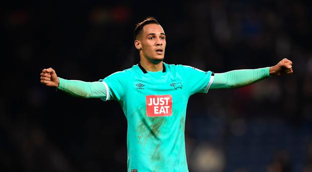 Thomas Ince of Derby County celebrates after the full time whistle (Photo by Shaun Botterill/Getty Images)