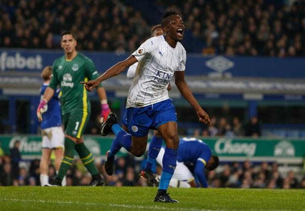 Leicester City's Ahmed Musa celebrates scoring their second goal Picture: Reuters