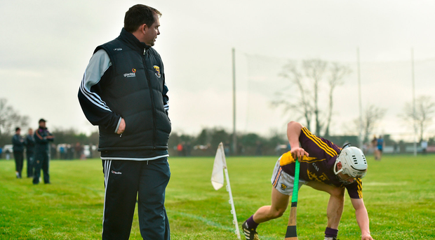 Wexford manager Davy Fitzgerald watches Cathal Dunbar prepare a sideline cut during the Walsh Cup match in Gorey RAMSEY CARDY/SPORTSFILE