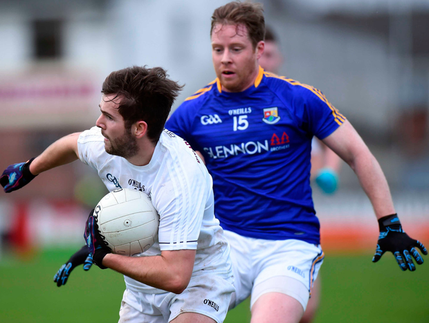 Kildare's Conor Hartley in action against Sean McCormack of Longford. Photo: Matt Browne/Sportsfile