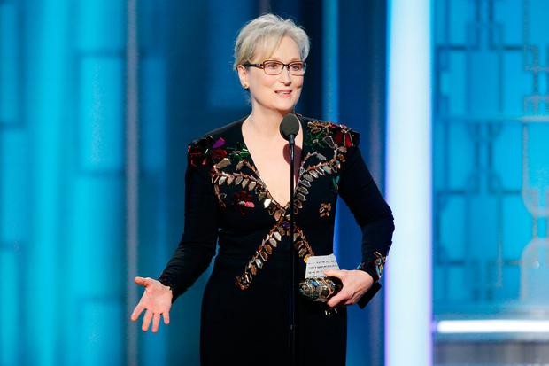 Meryl Streep accepts Cecil B. DeMille Award during the 74th Annual Golden Globe Awards at The Beverly Hilton Hotel on January 8, 2017 in Beverly Hills, California. (Photo by Paul Drinkwater/NBCUniversal via Getty Images)