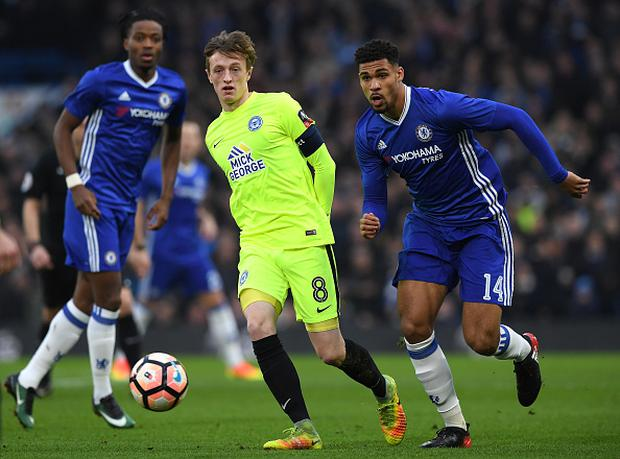 LONDON, ENGLAND - JANUARY 08: Chris Forrester of Peterborough United (L) and Ruben Loftus-Cheek of Chelsea (R) watch the ball during The Emirates FA Cup Third Round match between Chelsea and Peterborough United at Stamford Bridge on January 8, 2017 in London, England. (Photo by Darren Walsh/Chelsea FC via Getty Images)