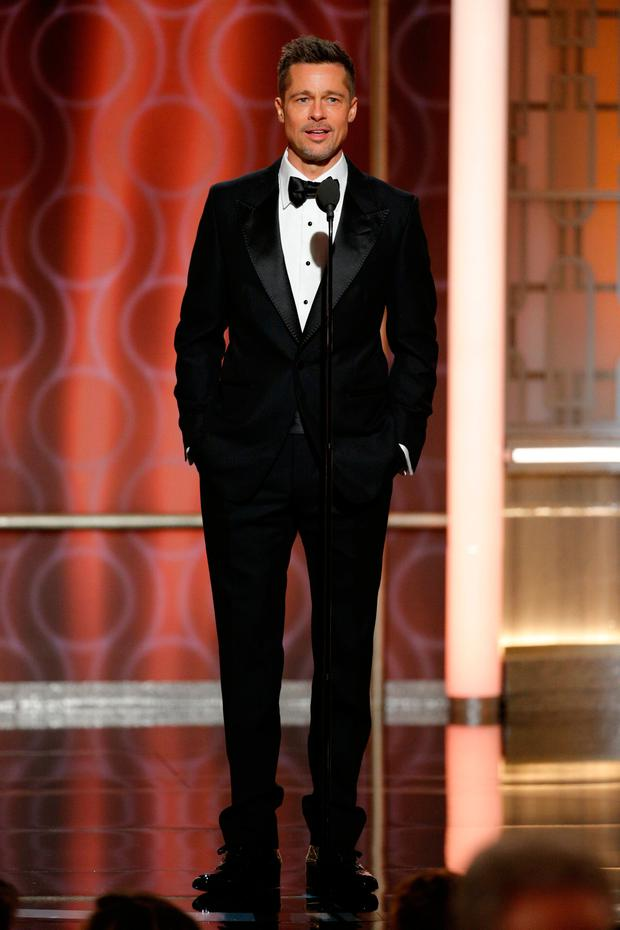 Brad Pitt onstage during the 74th Annual Golden Globe Awards at The Beverly Hilton Hotel on January 8, 2017 in Beverly Hills, California. (Photo by Paul Drinkwater/NBCUniversal via Getty Images)