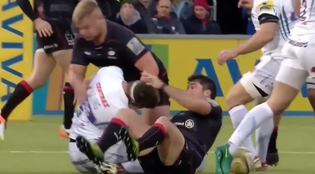 Richard Barrington and Brad Barritt are facing disciplinary action over this tackle on Geoff Parling
