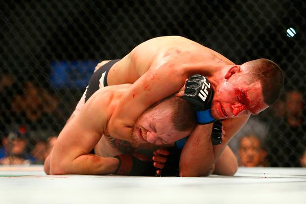 Conor McGregor submitting to Nate Diaz in Las Vegas last March. Photo by Rey Del Rio/Getty Images
