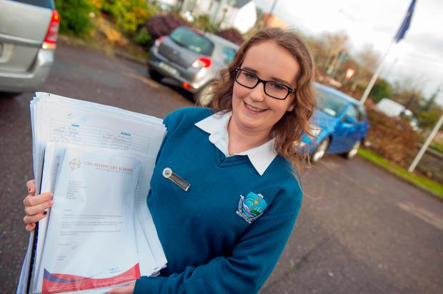Laura Quinn, of Ardscoil na Mara, Tramore,, Co Waterford, was among a group of secondary school students who presented a housing petition of 10,000 signatures to Housing Minister Simon Coveney in Cork. Photo: Michael MacSweeney