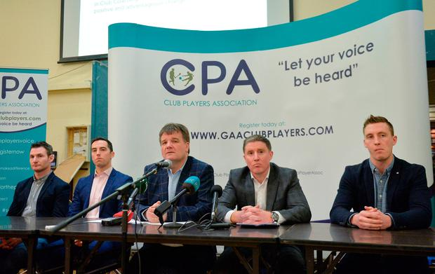 Among those at the top table of yesterday's Club Players Association (CPA) launch in Ballyboden St Enda's were, from left: Niall Corcoran, Aaron Kernan (Grassroots Co-ordinator), Declan Brennan (Secretary), and Micheal Briody (Chairman). Photo by Piaras Ó Mídheach/Sportsfile