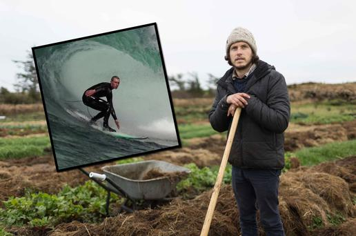 Fergal Smith at work on Moy Hill Organic Farm near Lahinch, Co Clare, and (inset) Fergal surfing near the Cliffs of Moher.