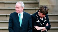 'Belligerent even now, Mrs Foster is claiming Mr McGuinness's position is political rather than principled, although the cash-for ash story is the biggest public finance scandal in Stormont's history Picture: PA