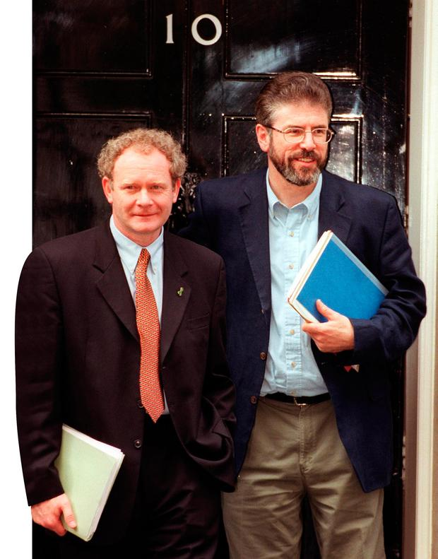 Martin McGuinness with Gerry Adams leaving No.10 Downing Street in 1999 Picture: PA/Peter Jordan