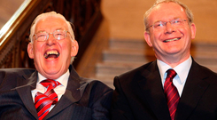 Martin McGuinness with Ian Paisley in Stormont after being sworn in as ministers in 2007 Picture: Paul Faith/PA