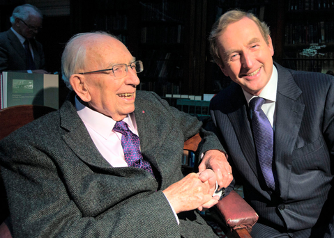 Taoiseach Enda Kenny with TK Whitaker in 2014 Picture: Mark Condren