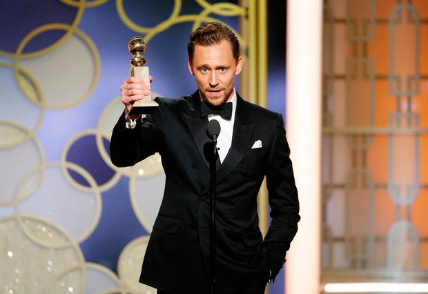 Tom Hiddleston accepts the award for Best Actor - Limited Series or Motion Picture for TV for his role in