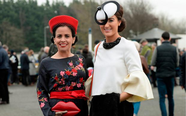 Triona Crosee, left, and sister Hanna Crosse, from Tipperary at Winter Ladies Day, Naas Racecourse. Picture: Caroline Quinn