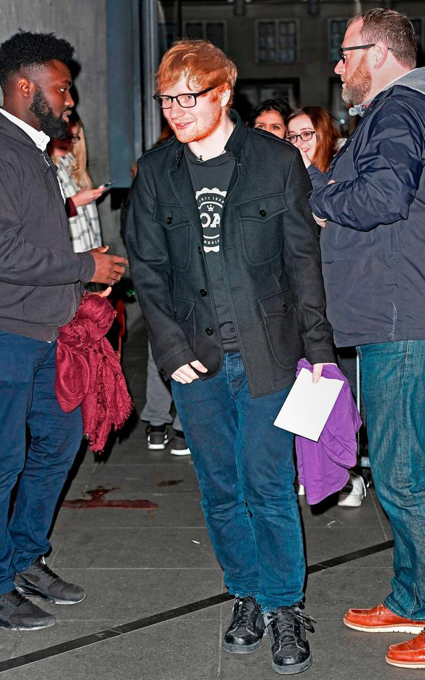 Ed Sheeran arrives at BBC Broadcasting House, London, ahead of his appearance on the BBC Radio 1 Breakfast Show.