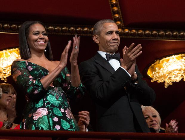 President Barack Obama and first lady Michelle Obama attend the Kennedy Center Honors show December 4, 2016 at the Kennedy Center in Washington, DC. The honorees include the band The Eagles, singer Mavis Staples, actor Al Pacino, singer James Taylor and pianist Martha Argerich. Photo: Aude Guerrucci-Pool/Getty Images