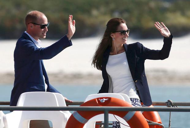 Prince William, Duke of Cambridge and Catherine, Duchess of Cambridge travel by boat to St Martins, after visiting Tresco Abbey Garden on September 2, 2016 in Isles Of Scilly, England. (Photo by Peter Nicholls - WPA Pool /Getty Images)