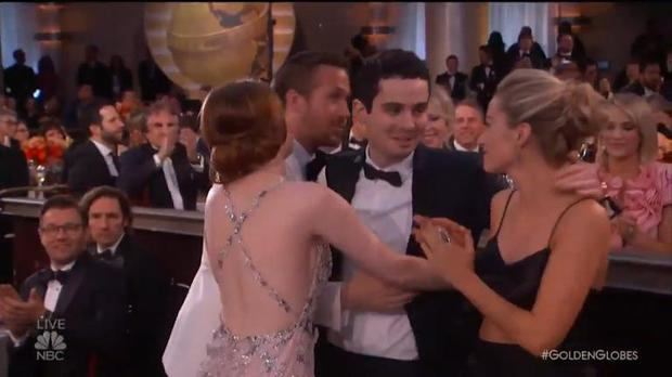 Emma Stone had the most awkward moment at the Golden Globes. Image: Golden Globes