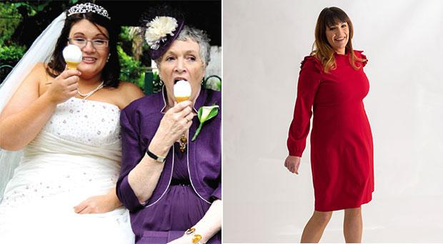 Alix pictured at her wedding with her late mum; Alix after losing more than six stone