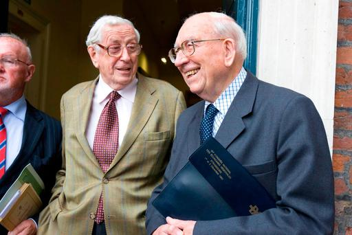 Former Taoiseach Dr Garret FitzGerald and Dr TK Whitaker (right) at the 'Economic Development – 50 years On' conference in 2008