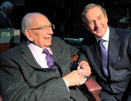 Taoiseach Enda Kenny with TK Whitaker at the launch of the TK Whitaker Portrait of Patriot book at the Royal Irish Academy, Dublin. Photo: Mark Condren