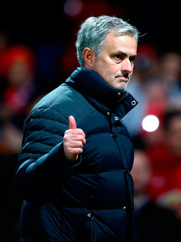 Jose Mourinho applauds supporters following the EFL Cup Semi-Final First Leg match between Manchester United and Hull City. Photo: Getty Images