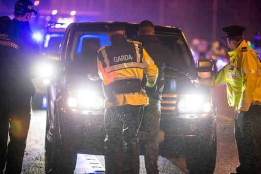 Gardaí doing a check on the M50. Photo: Mark Condren