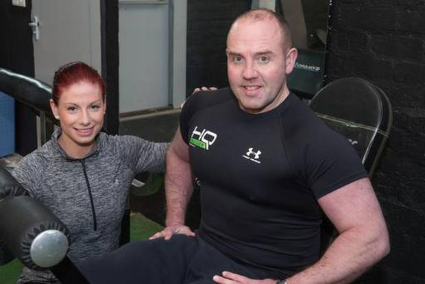 Sam Conley with his fiancee Cathy Boyd at the gym