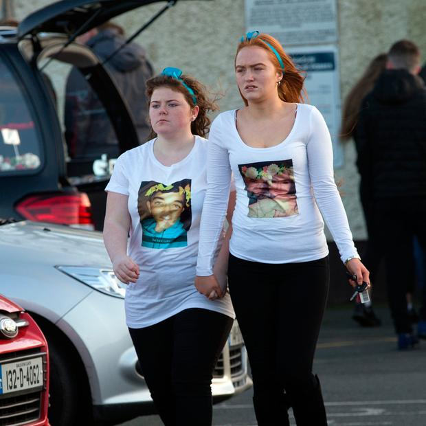 Mourners at the funeral of 16 year old Reece Cullen at the church of St. Martin de Porres in Aylsbury, Old Bawn. Photo: Tony Gavin