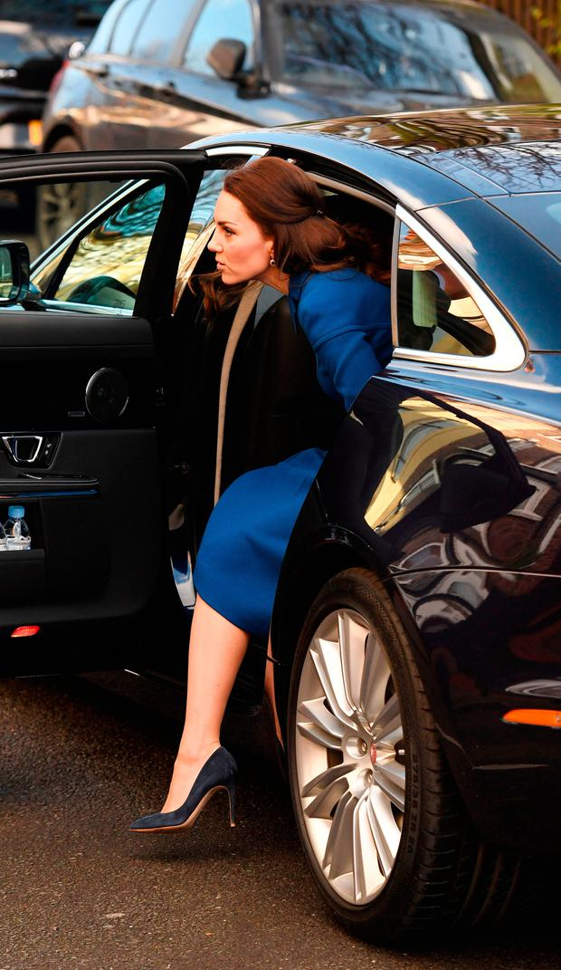 The Duchess of Cambridge arrives for a visit to an Early Years Parenting Unit in north London run by the Anna Freud National Centre for Children and Families, to learn more about its work with families who have children under five years old.