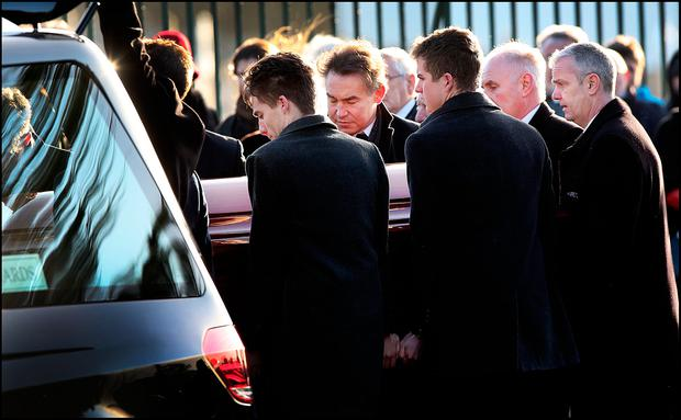 The remains of Mona Clarke are brought to St Mary's Church Castleblaney Co Monaghan for Funeral Mass. Pic Steve Humphreys