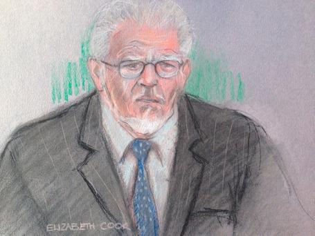 Court artist sketch by Elizabeth Cook of Rolf Harris appearing by video link at Southwark Crown Court in London. Photo: Elizabeth Cook/PA Wire