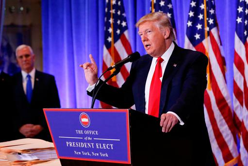 U.S. President-elect Donald Trump speaks during a press conference in Trump Tower, Manhattan, New York, US (Photo: Reuters)