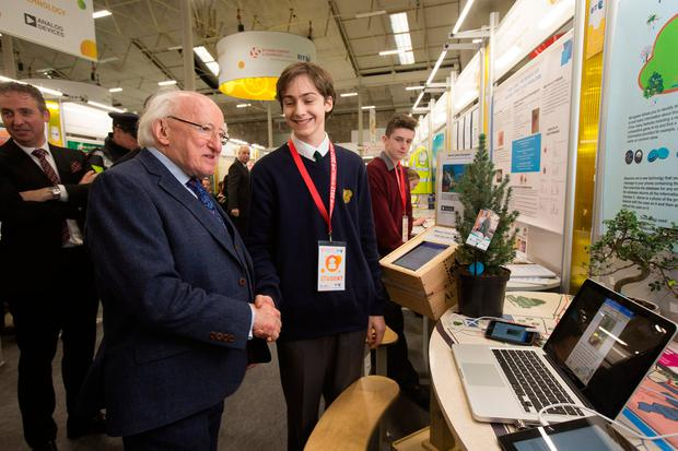 President Michael D Higgins talks to Donovan Weiss of East Glendalough School, Wicklow about his project on tree. Photo: Tony Gavin
