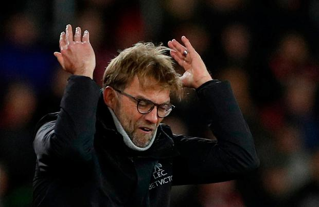 Liverpool manager Jurgen Klopp frustrated during the defeat at St Mary's