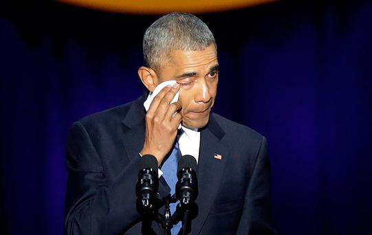 President Obama wipes away tears during his farewell speech in Chicago Picture: Getty