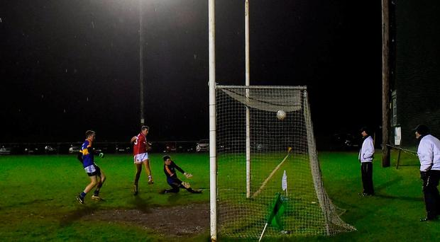 Niall Coakley of Cork scores his second goal against Tipperary during the McGrath Cup Round 1 match between Tipperary and Cork at Dr. Morris Park in Thurles, Co. Tipperary. Photo by Matt Browne/Sportsfile