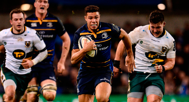 Adam Byrne sprints clear to score Leinster's third try against Northampton last month Photo by Sam Barnes/Sportsfile