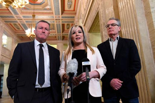 Sinn Féin's Conor Murphy (left), Michelle O'Neill and Gerry Kelly speak to the media at Stormont yesterday. Photo: Reuters