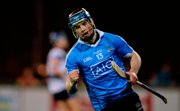 Dublin's Cian O'Sullivan celebrates his first half goal in last night's Bord na Móna Walsh Cup clash at Parnell Park. Pic: Sportsfile.