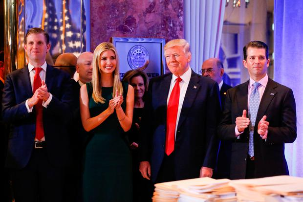 The President-elect with children Eric, Ivanka and Donald Jr. Photo: REUTERS/Shannon Stapleton