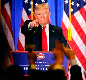 President-elect Donald Trump speaks at a news cenference at Trump Tower on January 11, 2017 in New York City. Photo by Spencer Platt/Getty Images