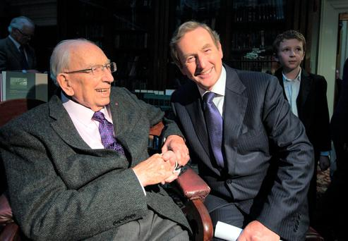 Taoiseach Enda Kenny with TK Whitaker (left) at the launch of the book 'TK Whitaker: Portrait of a Patriot' at the Royal Irish Academy, Dublin, in 2014. Photo: Mark Condren